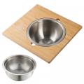 Сервировочная доска для кухонной мойки с дуршлагом и миской из нержавеющей стали Kraus, KAC – 1005BB