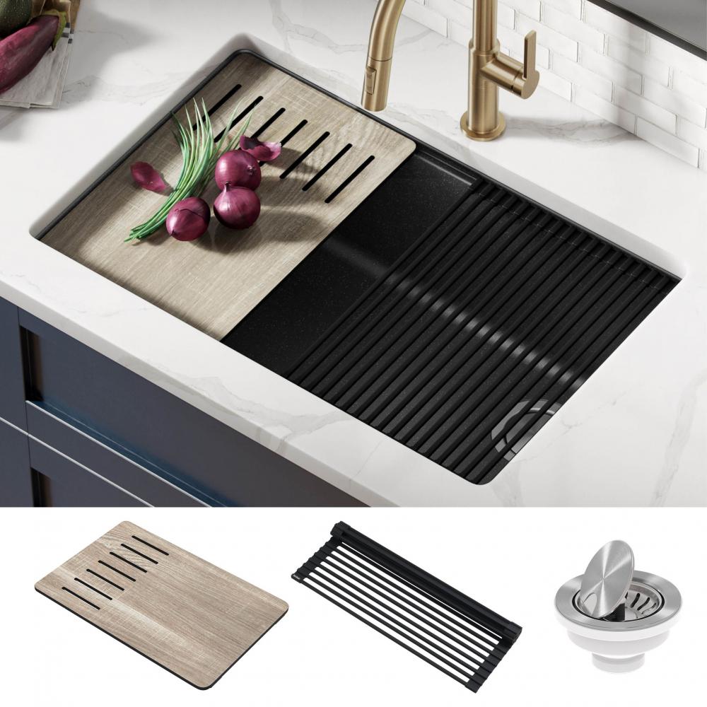Кухонная мойка нижнего монтажа из композитного гранита BELLUCCI WORKSTATION KRAUS KGUW2-30MBL